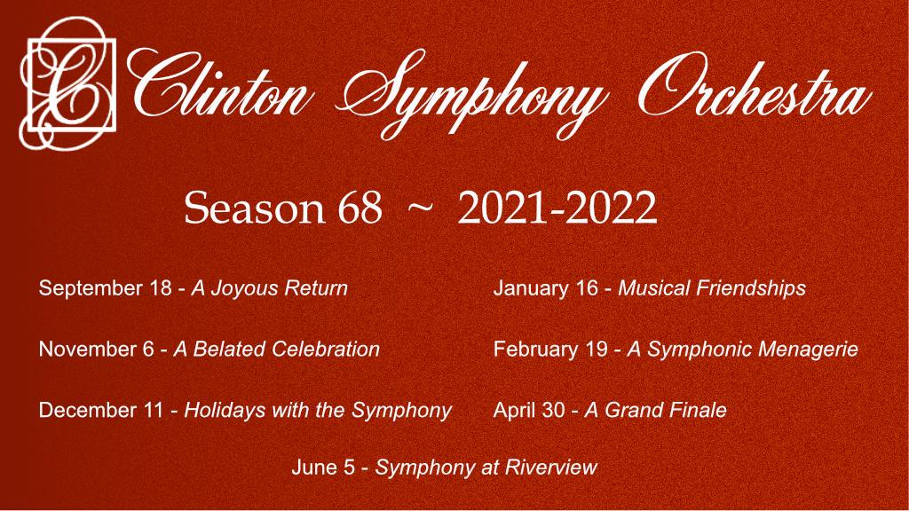 Clinton Symphony Season 68 Concert Schedule